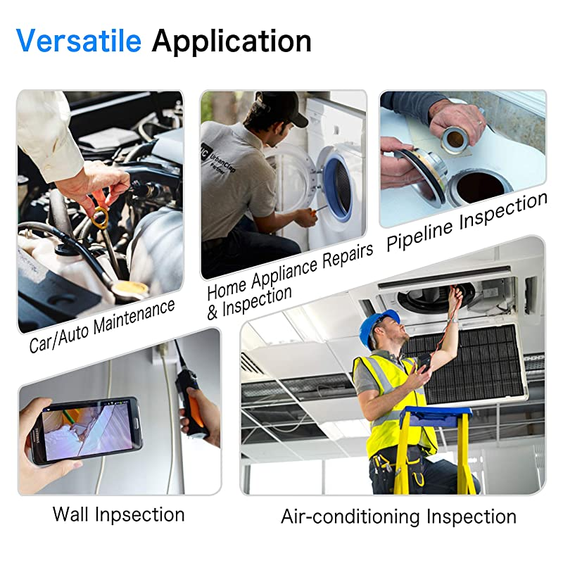 Wireless Endoscope 5.0MP HD WiFi Borescope Semi-Rigid Cable IP67 Waterproof Snake Inspection Camera with 2600mAh Battery for iOS and Android Smartphone &