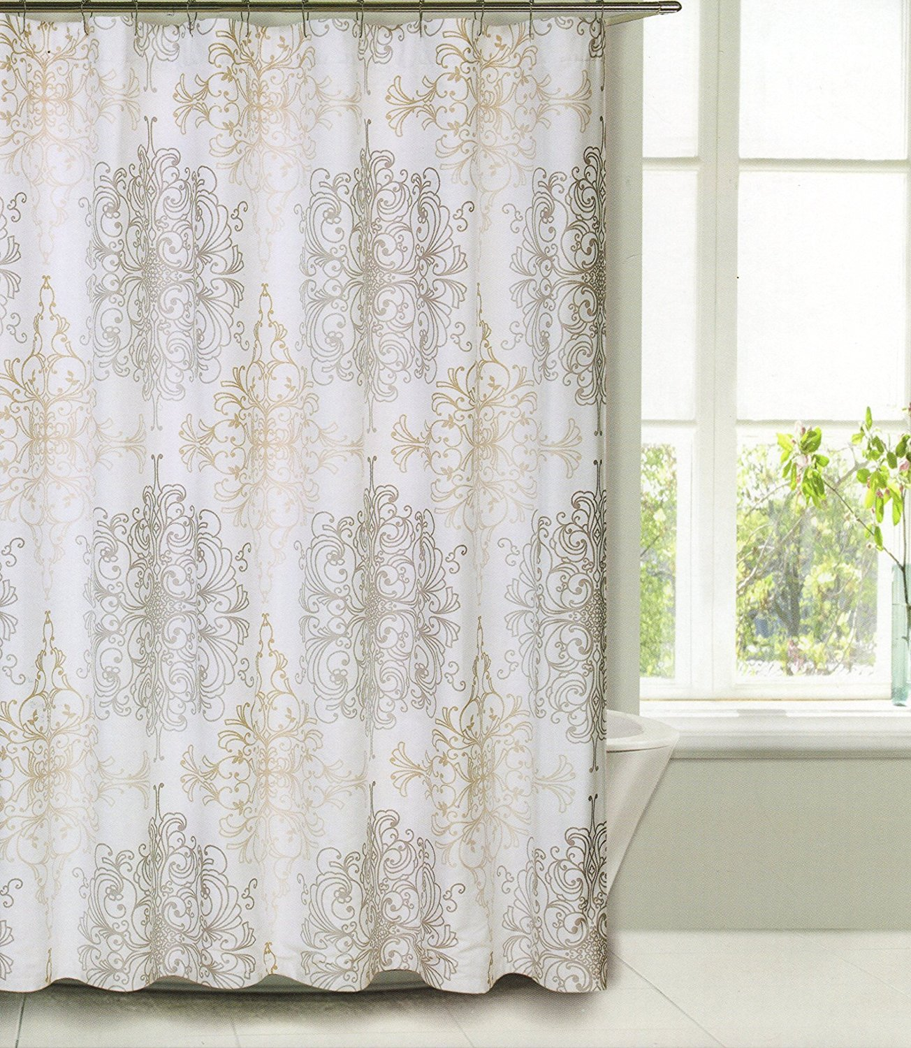 taupe scroll home beige design curtain milan x shower on com kitchen tahari curtains dp amazon luxurious white medallion fabric