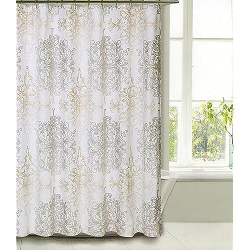 Shower Curtain Fabric Tahari Home Luxurious Milan Scroll Medallion Design Taupe Beige On White 72
