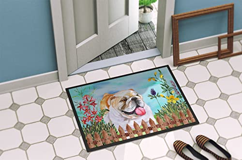 Caroline s Treasures CK1201MAT English Bulldog Spring Indoor or Outdoor Mat 18×27, 18H X 27W, Multicolor