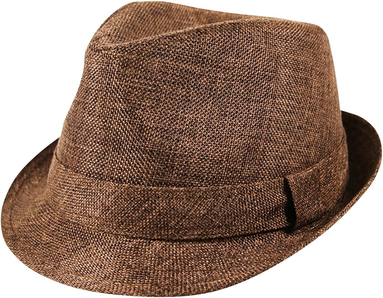 Itzu Trilby Fedora Hat Textured Jute Hessian Band Sun Unisex in Black Blue Brown Grey