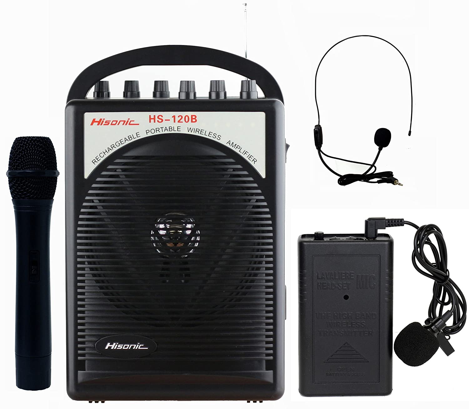 Portable Pa System With Wireless Microphone India Wire Center Circuits Gt On Off Temperature Control Circuit L45153 Nextgr Amazon Com Hisonic Hs120b Lithium Battery Rechargeable Rh Chiayo