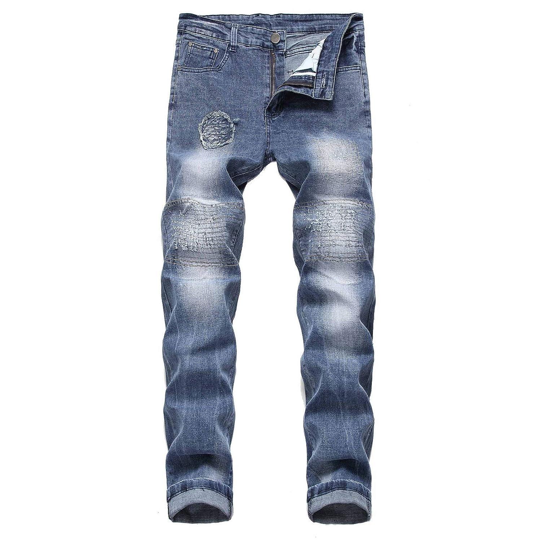 Men/'s Destroyed Taped Slim Fit Denim Pants Stretchy Ripped Skinny Biker Jeans
