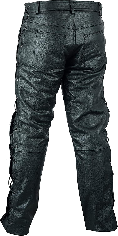 Jean de Moto pour Homme Cuir Noir Lacets sur Les c/ôt/és W40 // 101,5cm Tour de Taille