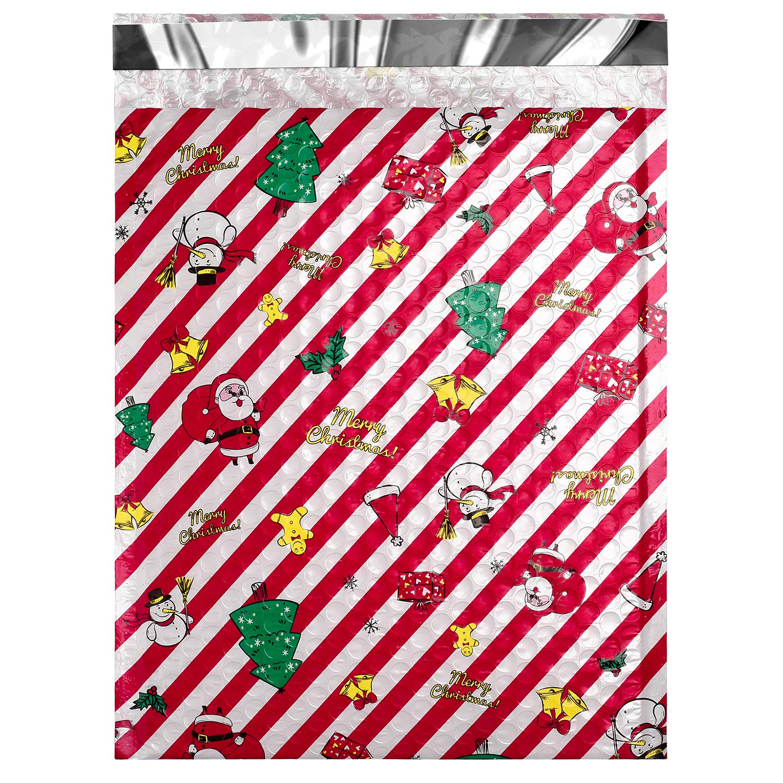 25 Sobres Acolchados Con Cierre Diseño Navidad 21.5x30.5cm
