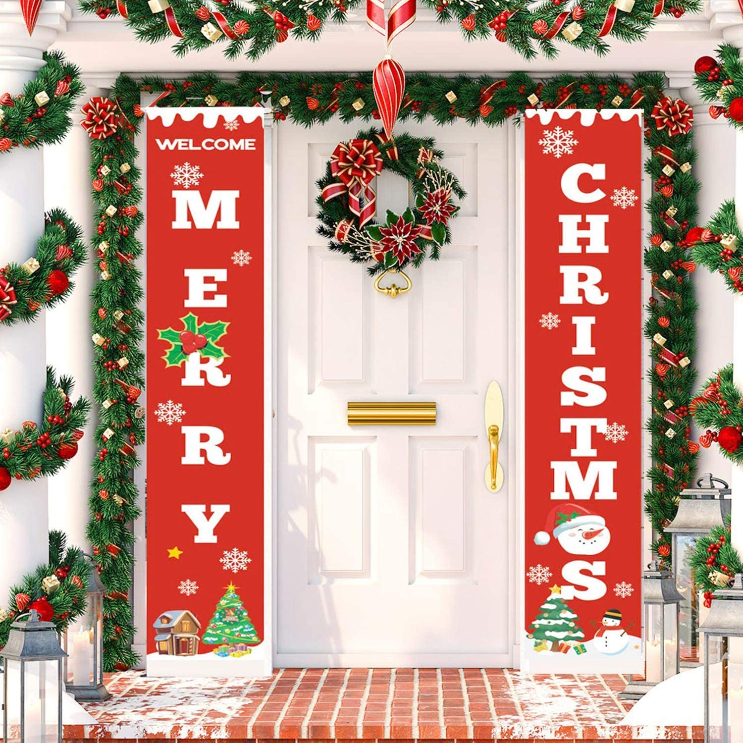 TOPLEE 2 PCS Merry Christmas Porch Banner 12''x72'' Front Door Signs Decor Christmas Tree Snowman Snowflakes Welcome Christmas Hanging Banner Wall Outdoor Indoor Party Decoration