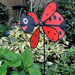 WWLUCKY Windmills for The Yard, Garden Windmill Art, Bird Deterrent Lawn Decorations, Garden Spinner with Stable Wood Pile, Birthday Gift Mother's Day Garden Decoration