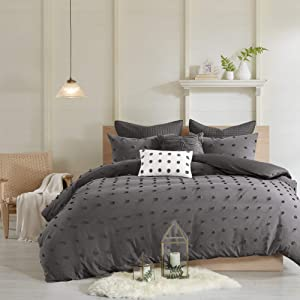 Urban Habitat Brooklyn Cotton Jacquard Comforter Set Charcoal King/Cal King