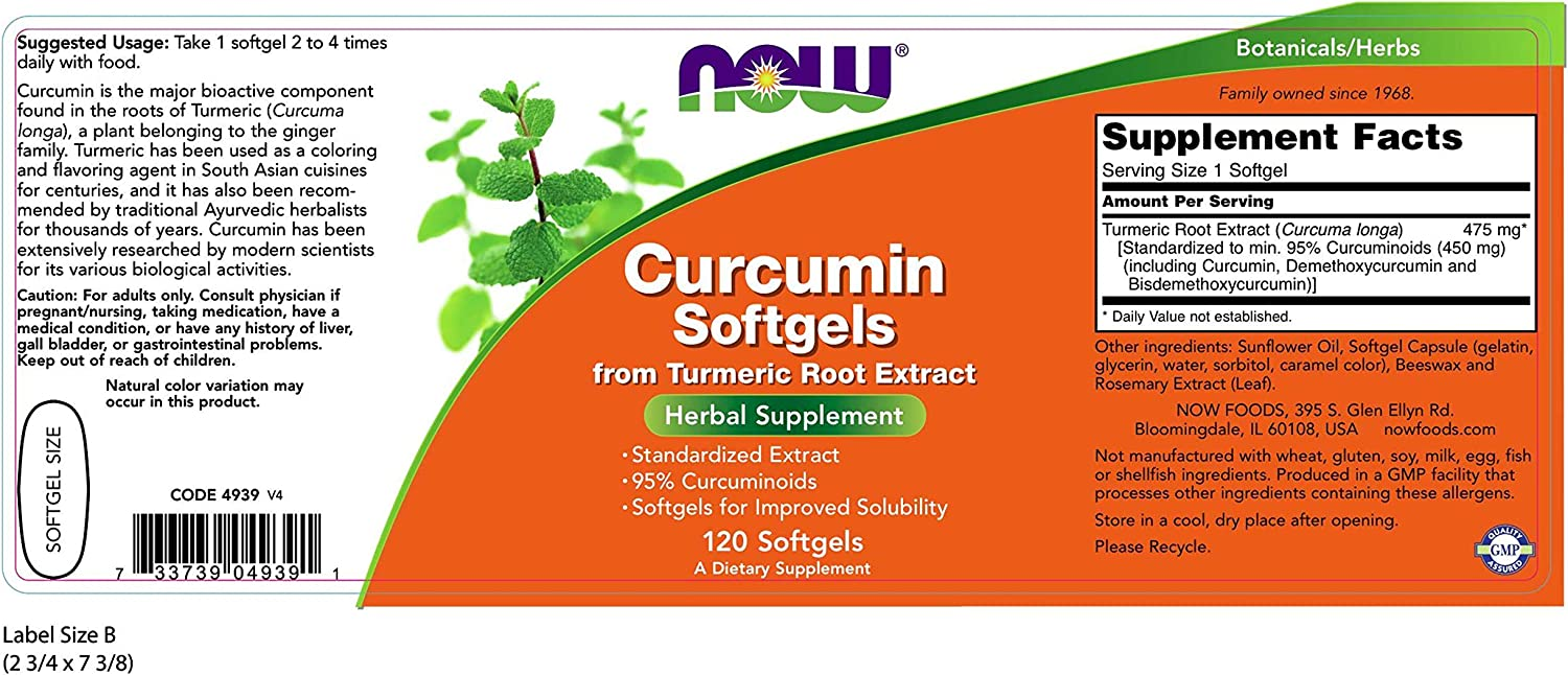 Curcumin – 120 Vegetarian Capsules by NOW