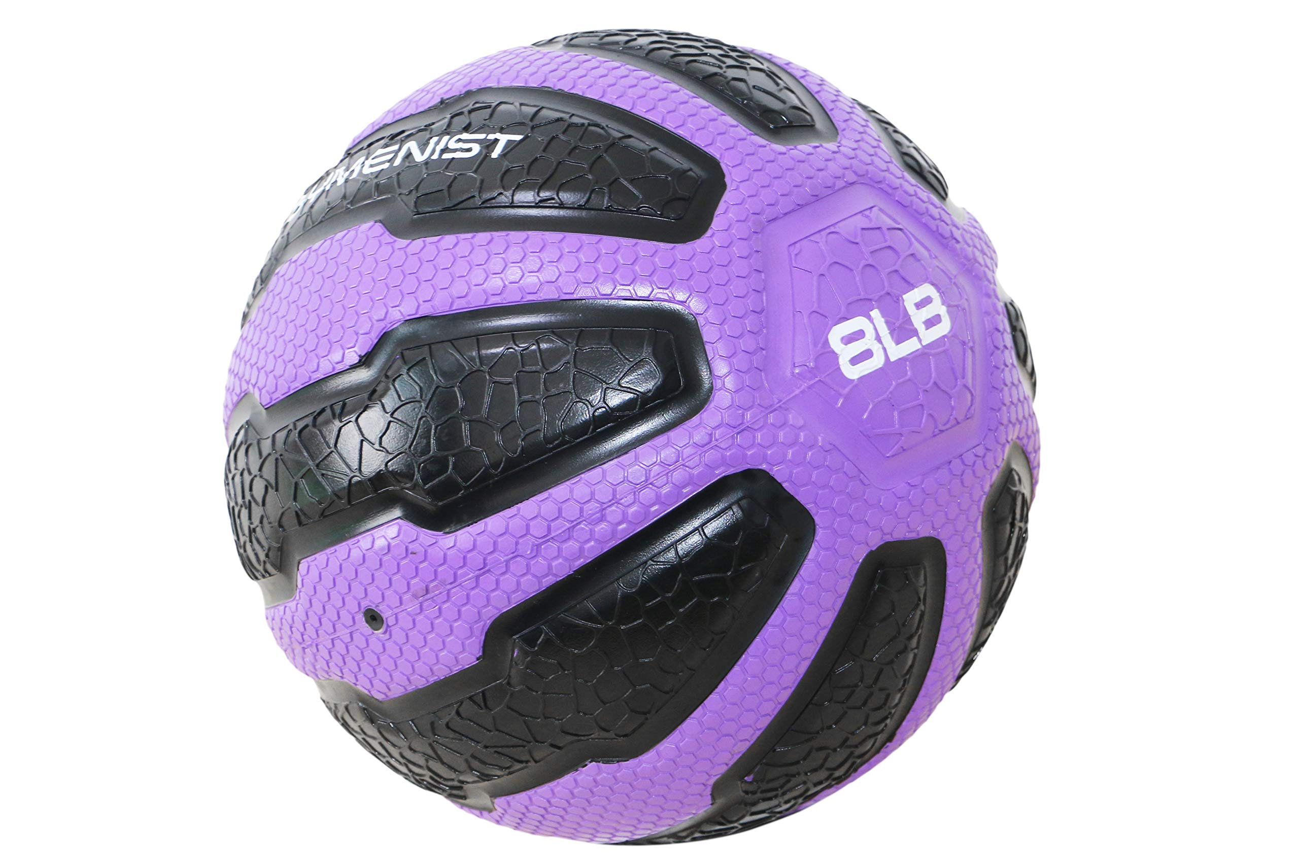 GYMENIST Rubber Medicine Ball with Textured Grip, Available in 9 Sizes, 2-20 LB, Weighted Fitness Balls,Improves Balance and Flexibility - Great for Gym, Workouts, (8 LB (Purple-Black))