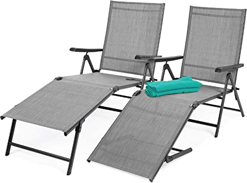 Best Choice Products Set of 2 Outdoor Adjustable Folding Steel Textiline Chaise Reclining Lounge Chairs w 6 Back 2 Leg Positions – Gray