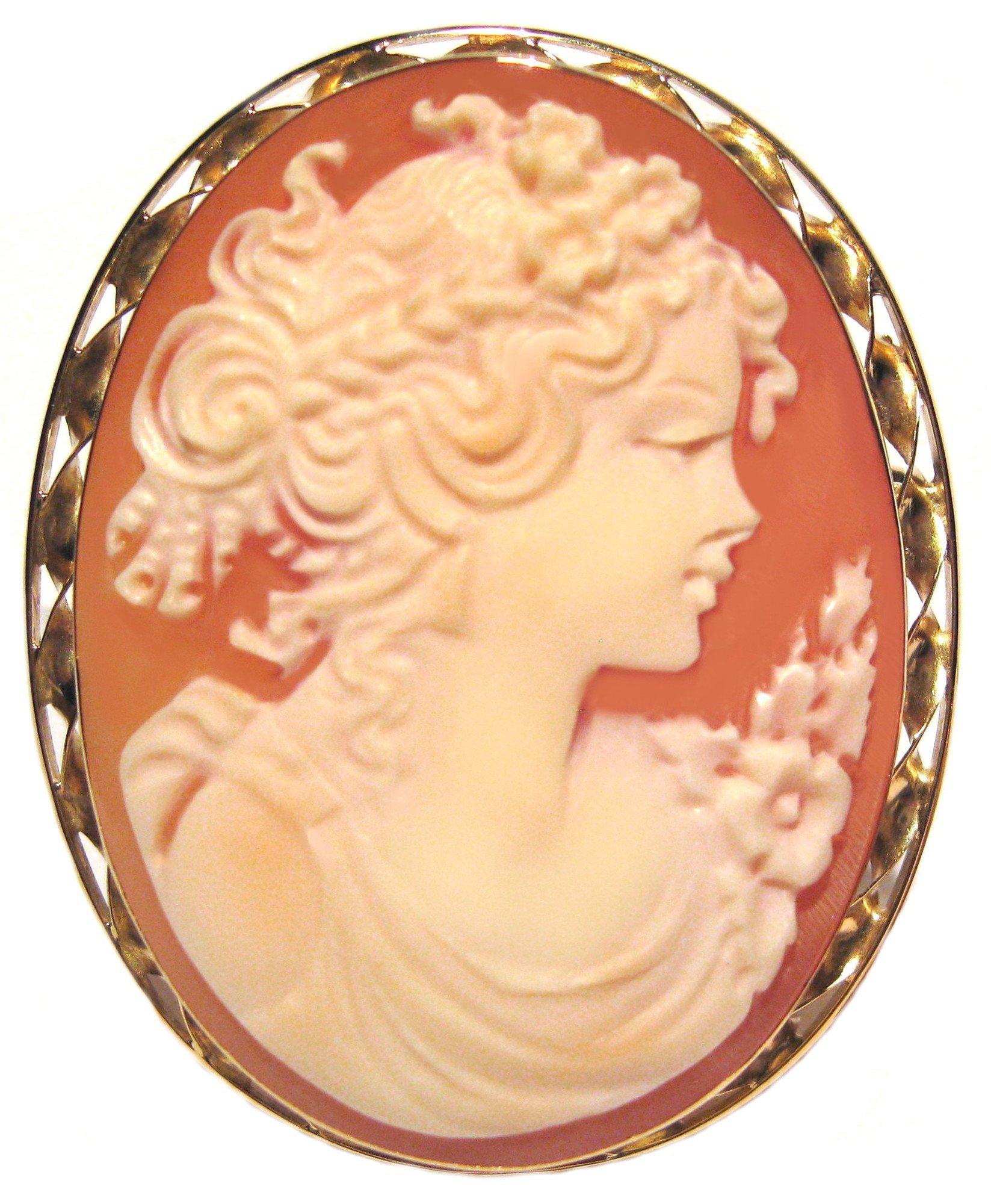 Summer Dream, Cameo Pin Pendant Carnelian Shell Italian 18k Gold Master Carved