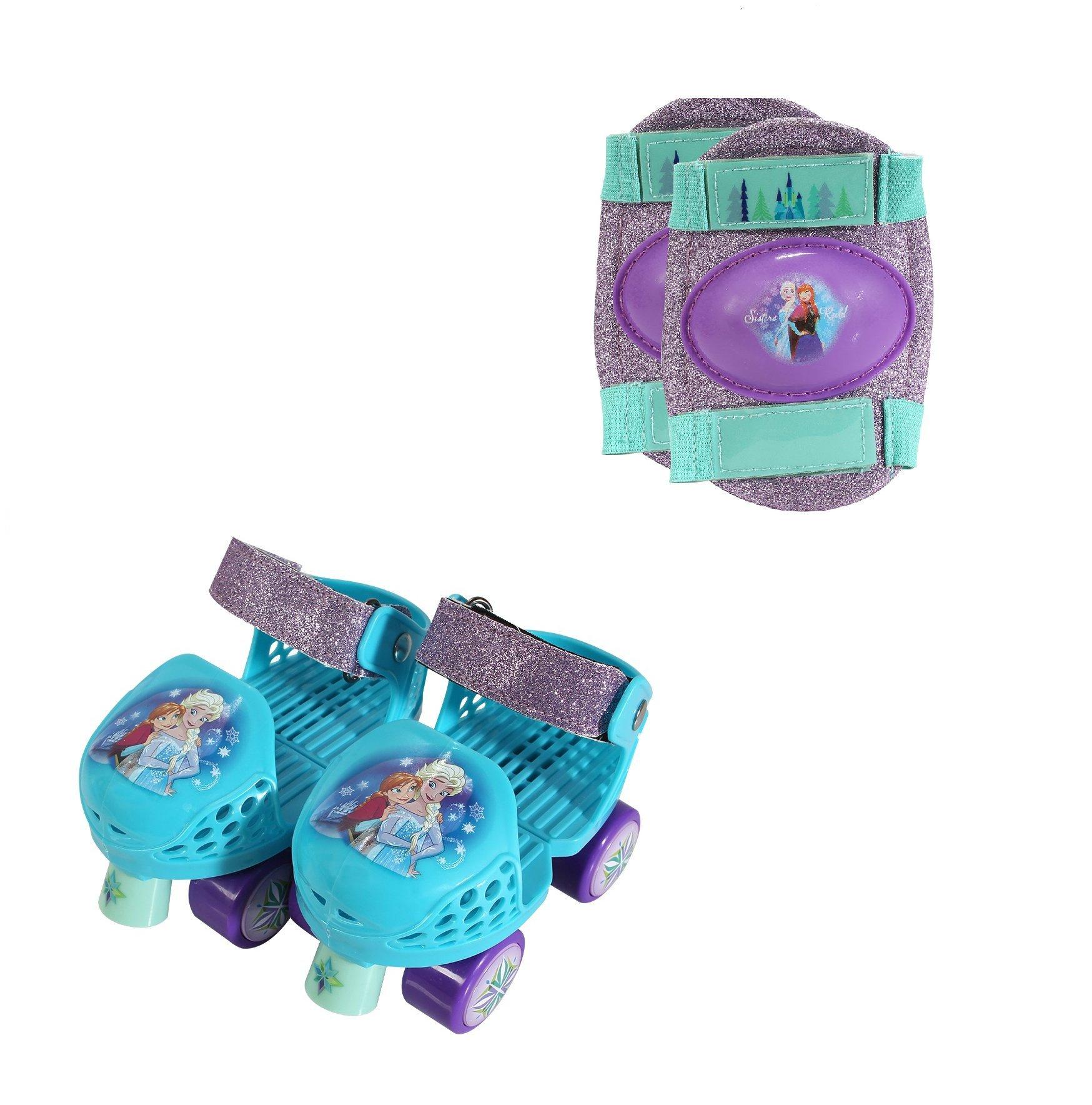PlayWheels Disney Frozen Kids Glitter Roller Skates with Knee Pads - Childrens Adjustable Skates - Junior Size 6-12 by PlayWheels