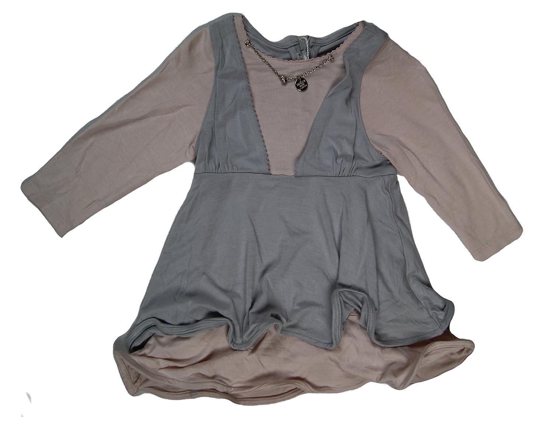 Patrizia Pepe. Girls Trendy Dress colour Pink/Grey Age 9 Months
