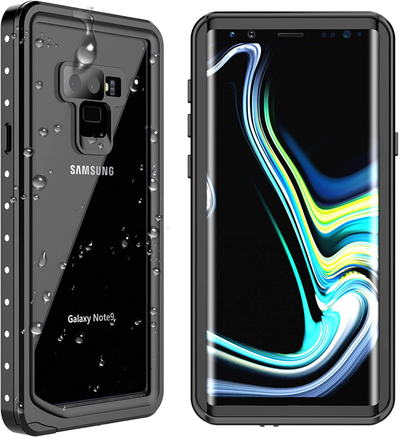 SPIDERCASE Samsung for Galaxy Note 9 Waterproof Case, Shockproof Snowproof Dirtproof, Waterproof Case for Samsung Galaxy Note 9 (Black/Transparent)