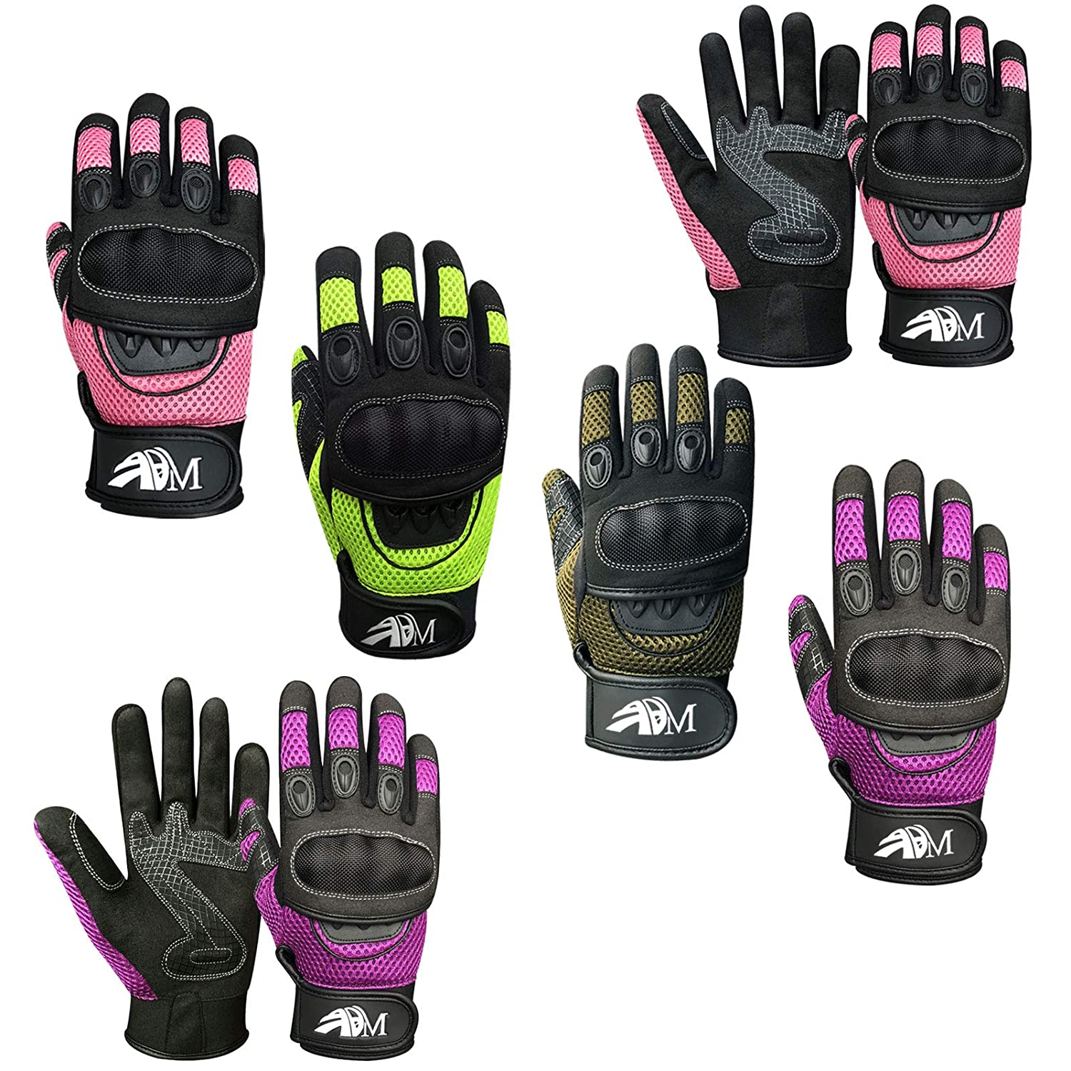 Ladies Full Finger Summer Motorbike Mountain Bike knuckle Protection Racing Gloves 9001 LDY (9001 Purple LDY, M) Prime Leather