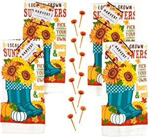 Autumn Sunflowers and Pumpkins Kitchen Towels Set 4pc: Locally Grown Pick Your Own Flowers and Seeds with Cute Garden Boots