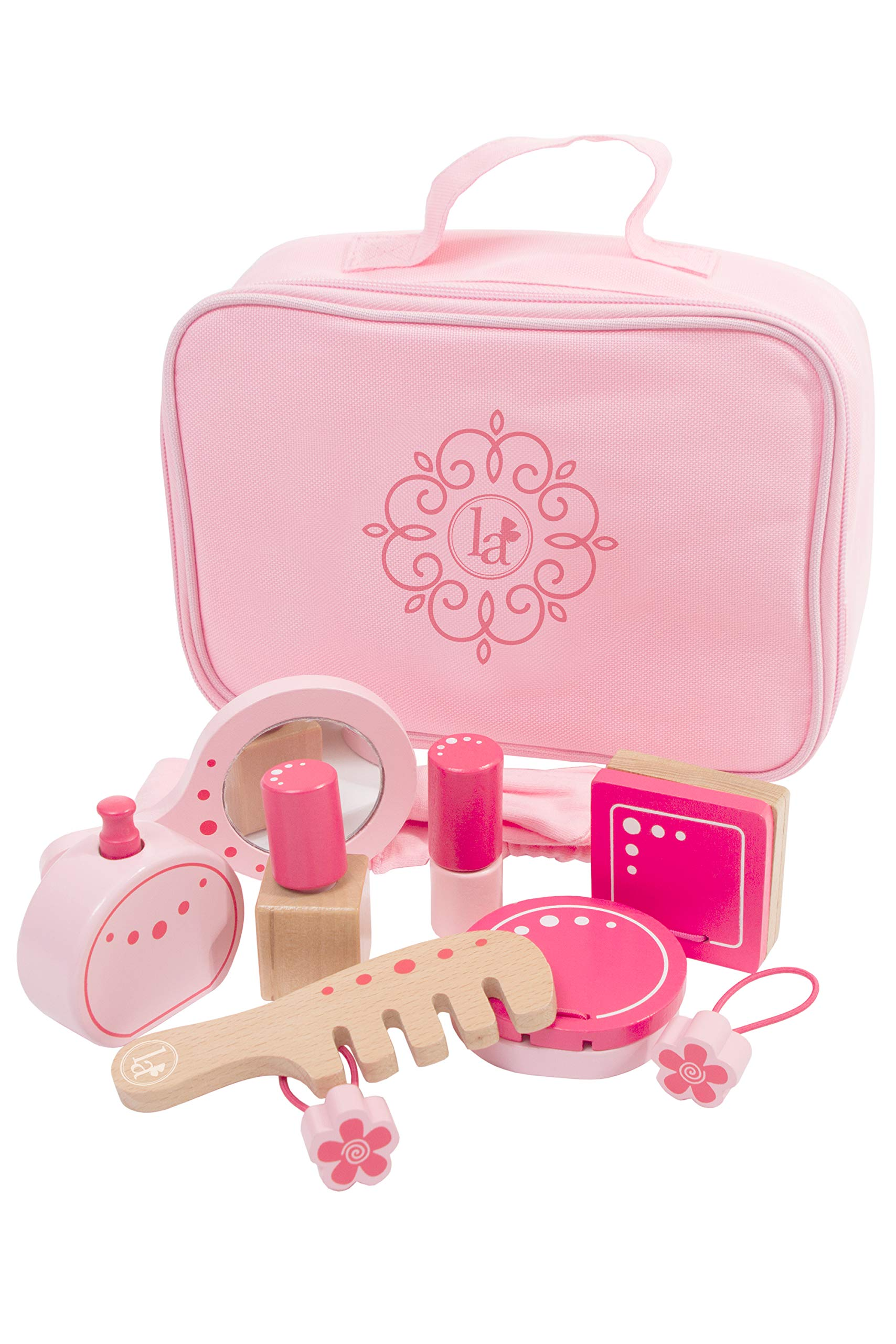 Little Adventures Little Beauty Salon Beautician Wooden Toy Set with Carrying Case Pink by Little Adventures (Image #1)