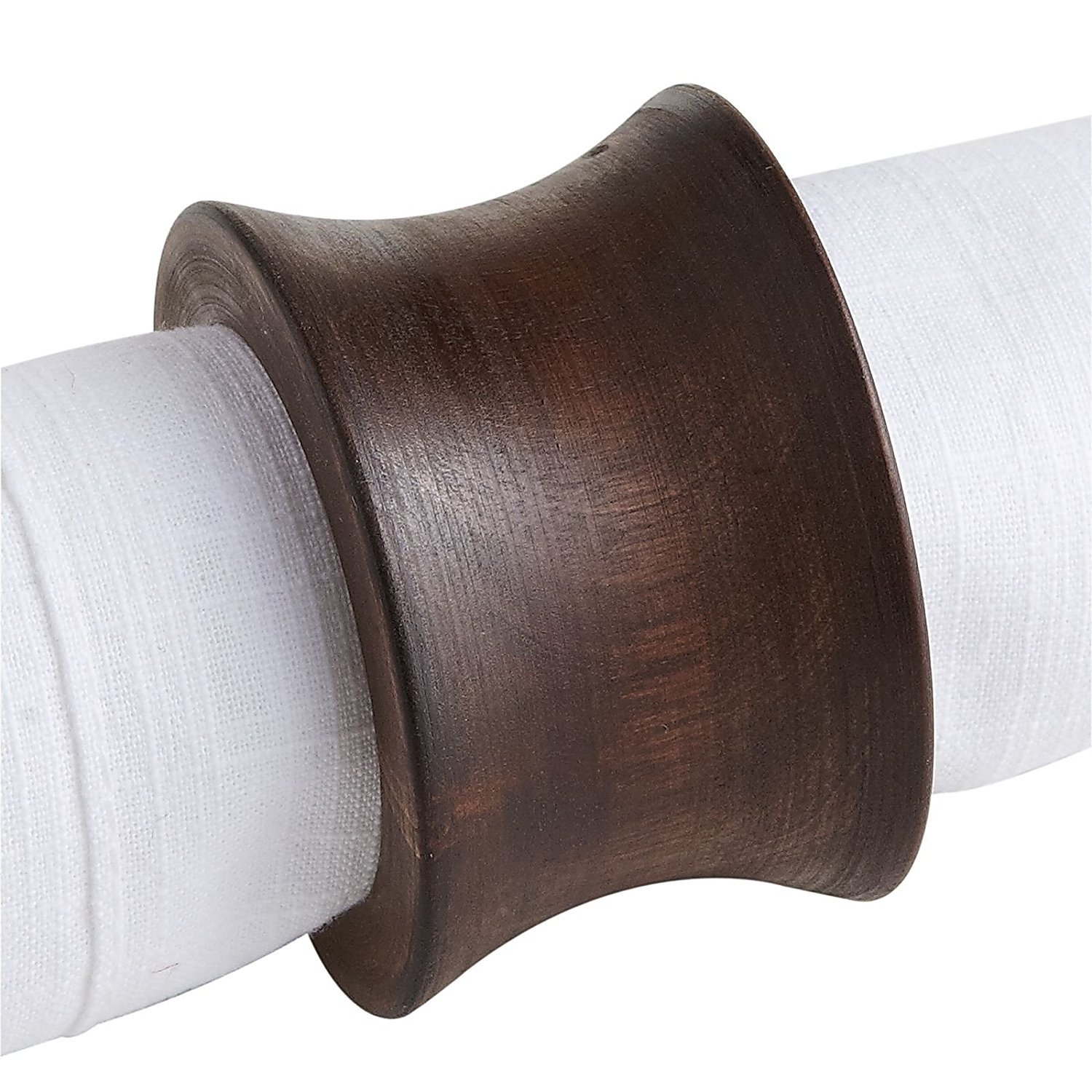 Worldexplorer Handmade Concave Wood Napkin Ring Set With Napkin Rings - Artisan Crafted in India (Pack of 8)