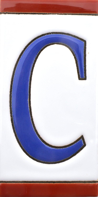 pintados a mano en t/écnica cuerda seca para nombres N/úmeros casa Dise/ño USA MEDIANO 10,9 cm x 5,4 cm. NUMERO OCHO 8 direcciones y se/ñal/éctica Numeros y letras en azulejo de ceramica
