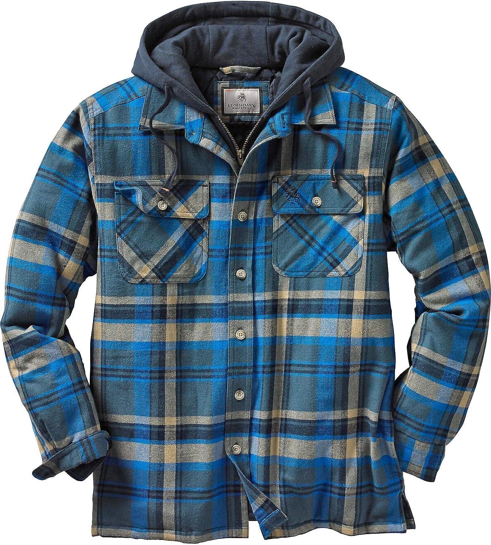 Legendary Whitetails Mens Maplewood Hooded Flannel Shirt Jacket