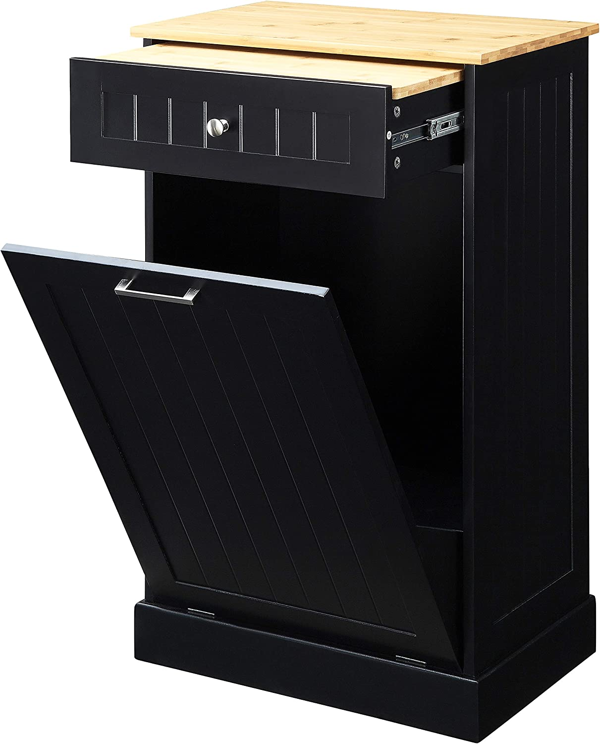 Amazon Com Northwood Calliger Tilt Out Free Standing Kitchen Trash Or Recycling Cabinet With Drawer Removable Bamboo Cutting Board Black Kitchen Dining