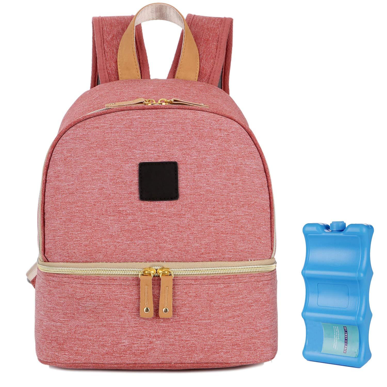 Breastmilk Cooler Bag, Backpack Cooler Bag Breast Pump Bag with Baby Bottle Cooler Pockets for Breastmilk Formula Lunch Food (Pink)