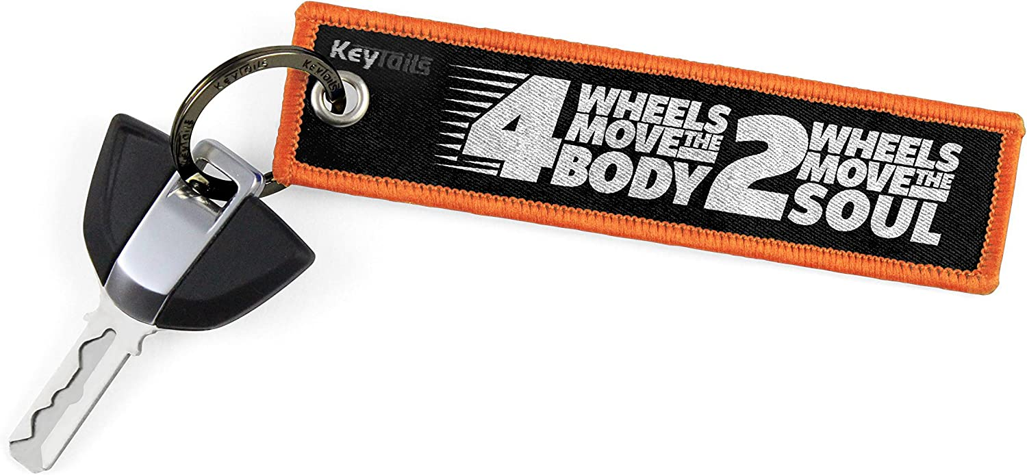 4 Wheels Move The Body, 2 Wheels Move The Soul KEYTAILS Keychains ATV Scooter UTV Premium Quality Key Tag for Motorcycle