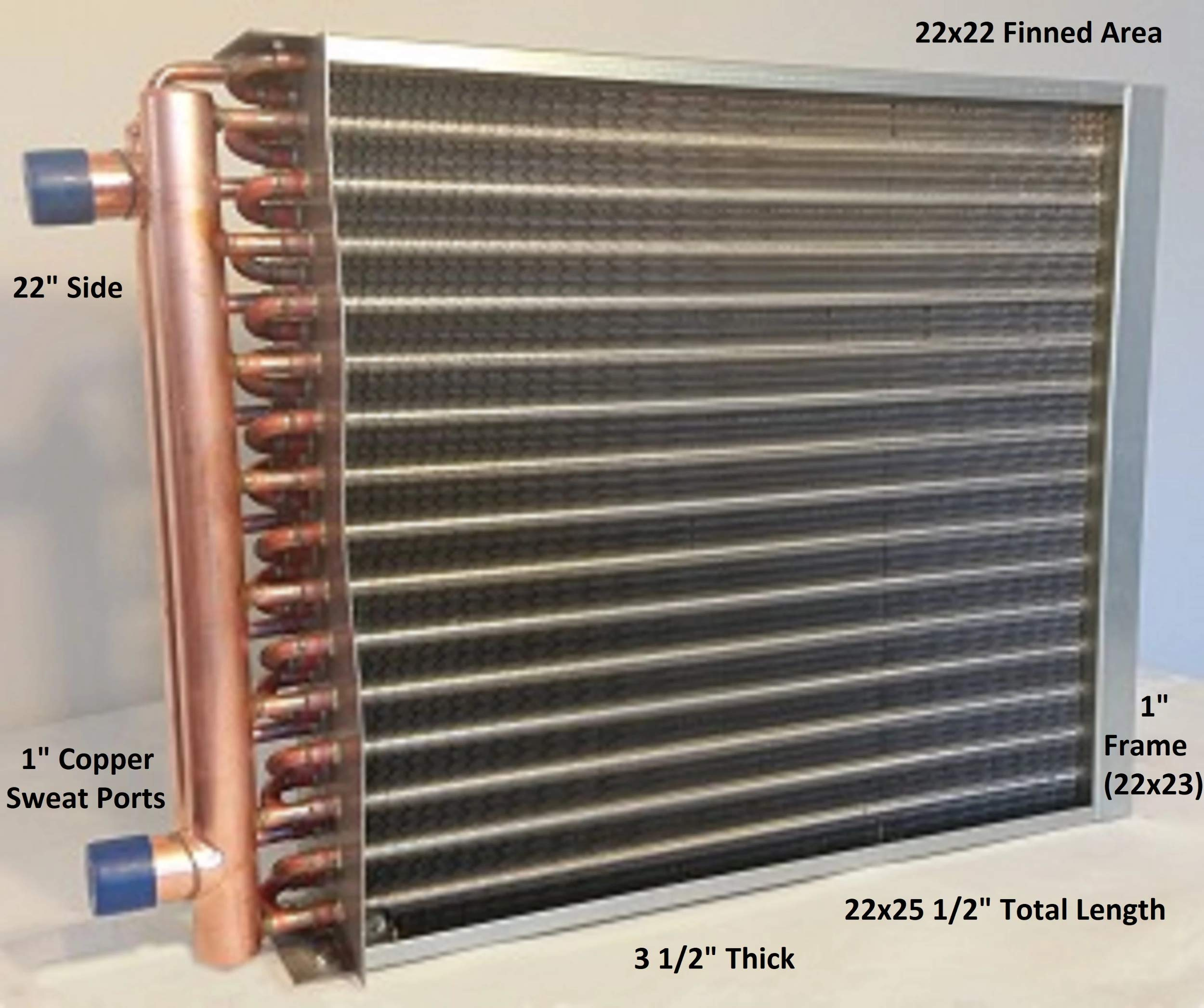 22X22 Water to Air Heat Exchanger~1'' Copper Ports w/EZ Install Front Flange by Badger Insulated Pipe