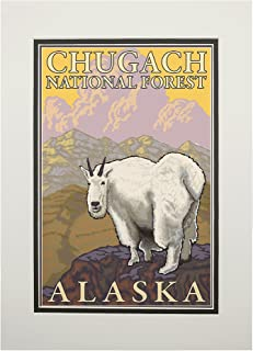 product image for Mountain Goat - Chugach National Forest, Alaska (11x14 Double-Matted Art Print, Wall Decor Ready to Frame)