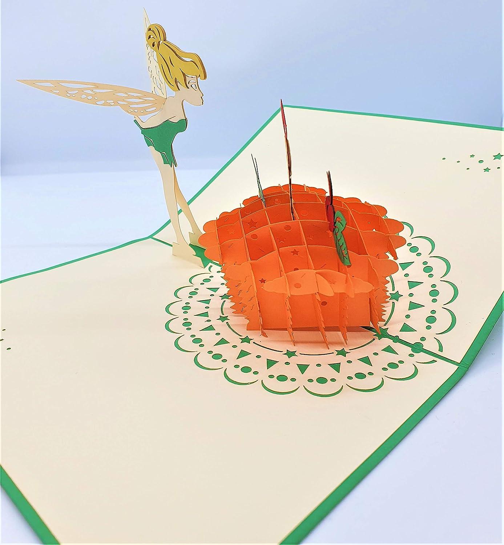 Popup 3D hecho a mano tarjeta de 1er cumplea/ños Tinkerbell pastel vela cuento de hadas ni/ño ni/ño cuento popular sue/ño papercraft corte l/áser invitaci/ón de fiesta de saludo