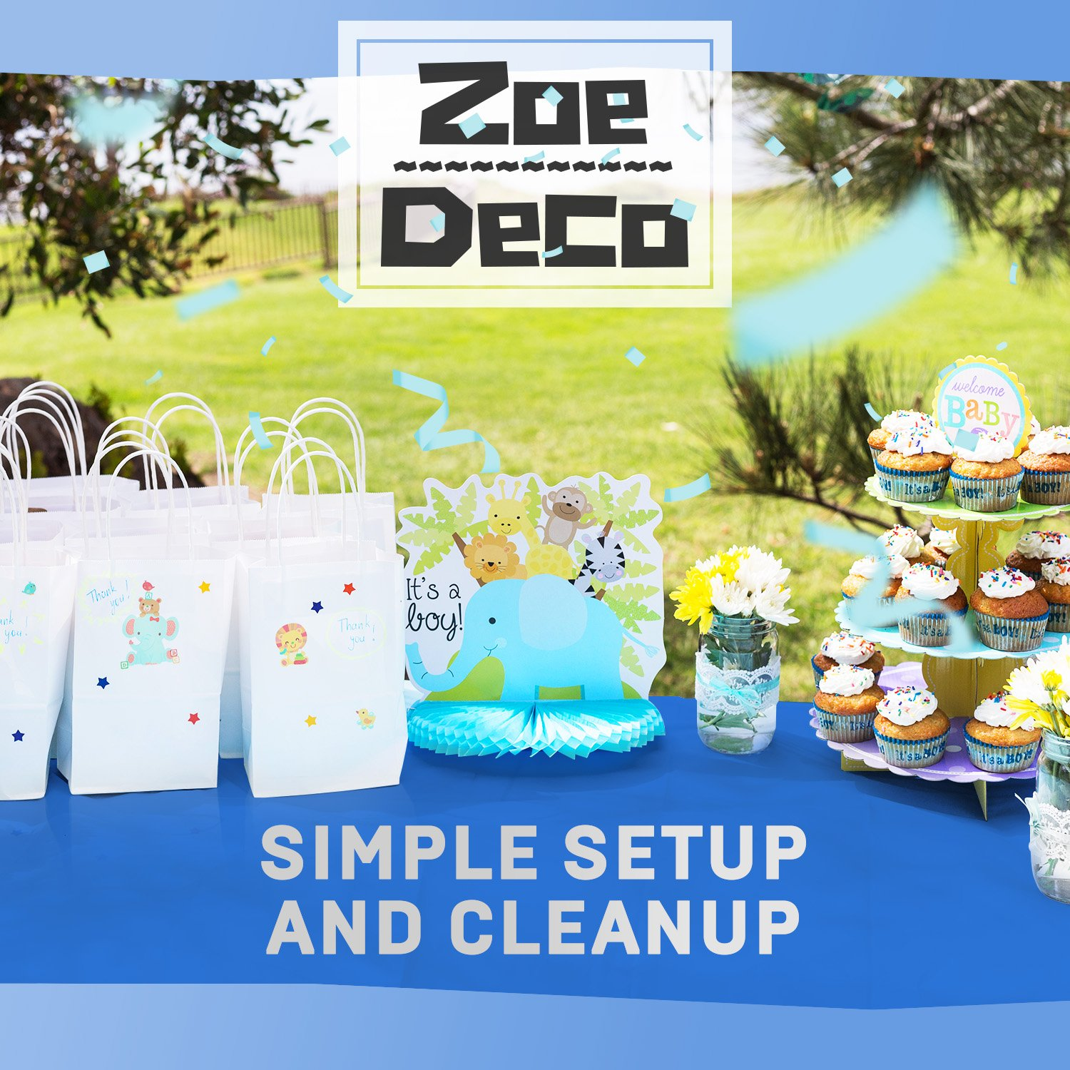 Zoe Deco Plastic Tablecloth, 54'' x 108'' Blue Tablecloth - 12 Pack - Rectangle Tablecloth for Parties, Graduations, and Picnics by Zoe Deco (Image #7)