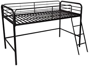 AmazonBasics Metal Twin Loft Bed, Tool Free Assembly, Black