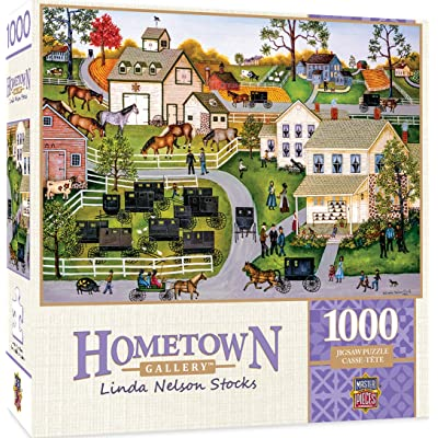 Masterpieces Hometown Gallery Jigsaw Puzzle, Sunday Meeting, Featuring Art by Linda Nelson Stocks, 1000Piece: Toys & Games