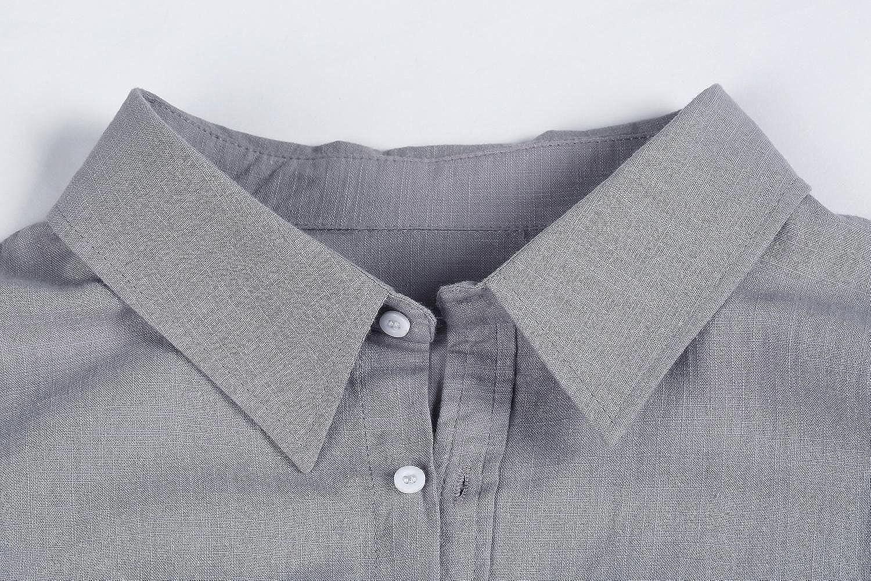 Gemijacka Leinenhemd Herren Regular Fit Button-down Sommerhemd Langarm /& Kurzarm Herren Hemd Shirt Freizeithemd Herren