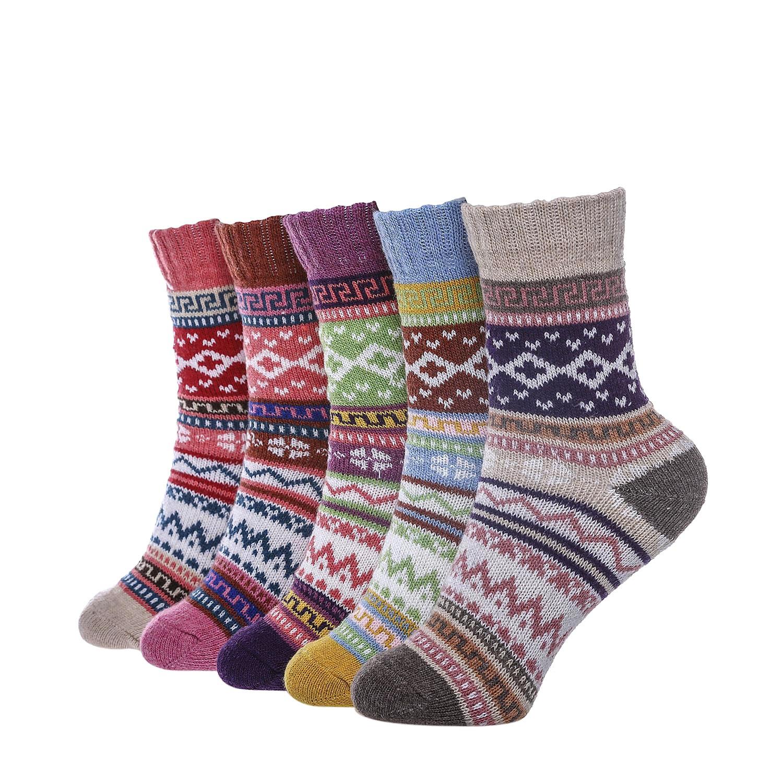 5 Pairs Winter Warm Cotton Ladies Women Socks Knitting Pure Vintage Floor Sock Bed Socks UK(4~6) EU(35-42)…