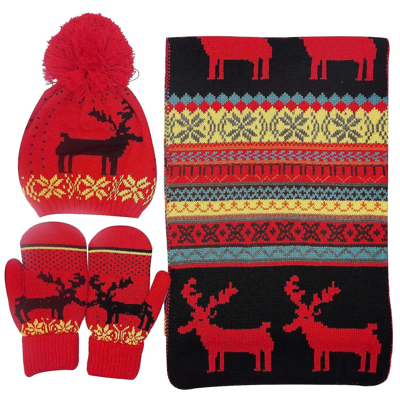 Bienvenu Women Scarf & Glove Set, Knitted Snowflake Deer Detail & Matching Cap Black ZLM00003172