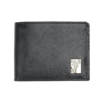 Versace Collection Portefeuille Medusa Plaque Bifold Portefeuille Homme  avec Porte-Monnaie 4c6485c992d