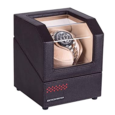 Automatic Single Watch Winder for Rolex, in Wood Shell and Black Coffee Color Leather, with 4 Rotation Mode Setting, Adjustable Watch Pillow for Men's and Lady's Automatic Watches