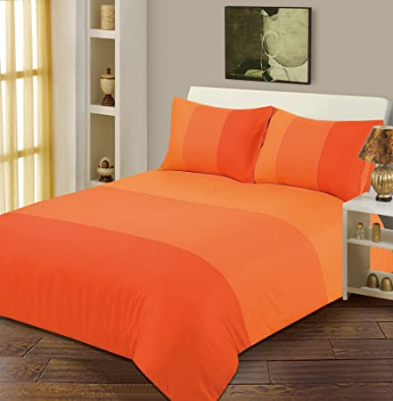 King Size Duvet   Quilt Cover Bedding Set Lexie Orange Plain 3 Tone   Amazon.co.uk  Kitchen   Home 6786f06c25ad