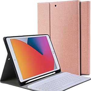 Ferilinso Bluetooth Case for iPad 10.2 Keyboard Case 2020 iPad 8th Generation,Detachable Wireless Keyboard Leather Case with Pencil Holder Cover Auto Wake/Sleep Case-Rose Gold