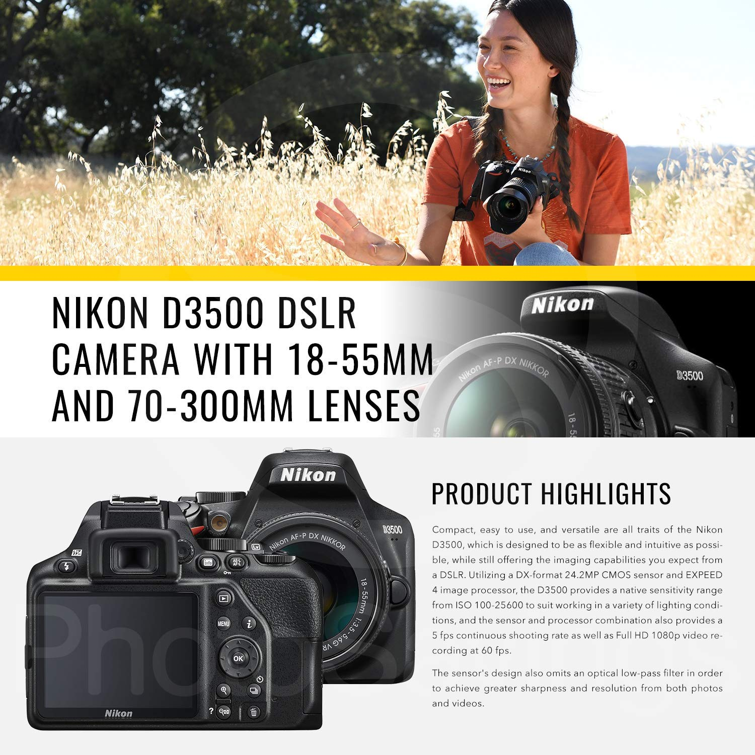 Nikon D3500 DSLR Camera with 18-55mm and 70-300mm Lenses + 32GB Card, Tripod, Flash, and Bundle by Photo Savings (Image #2)