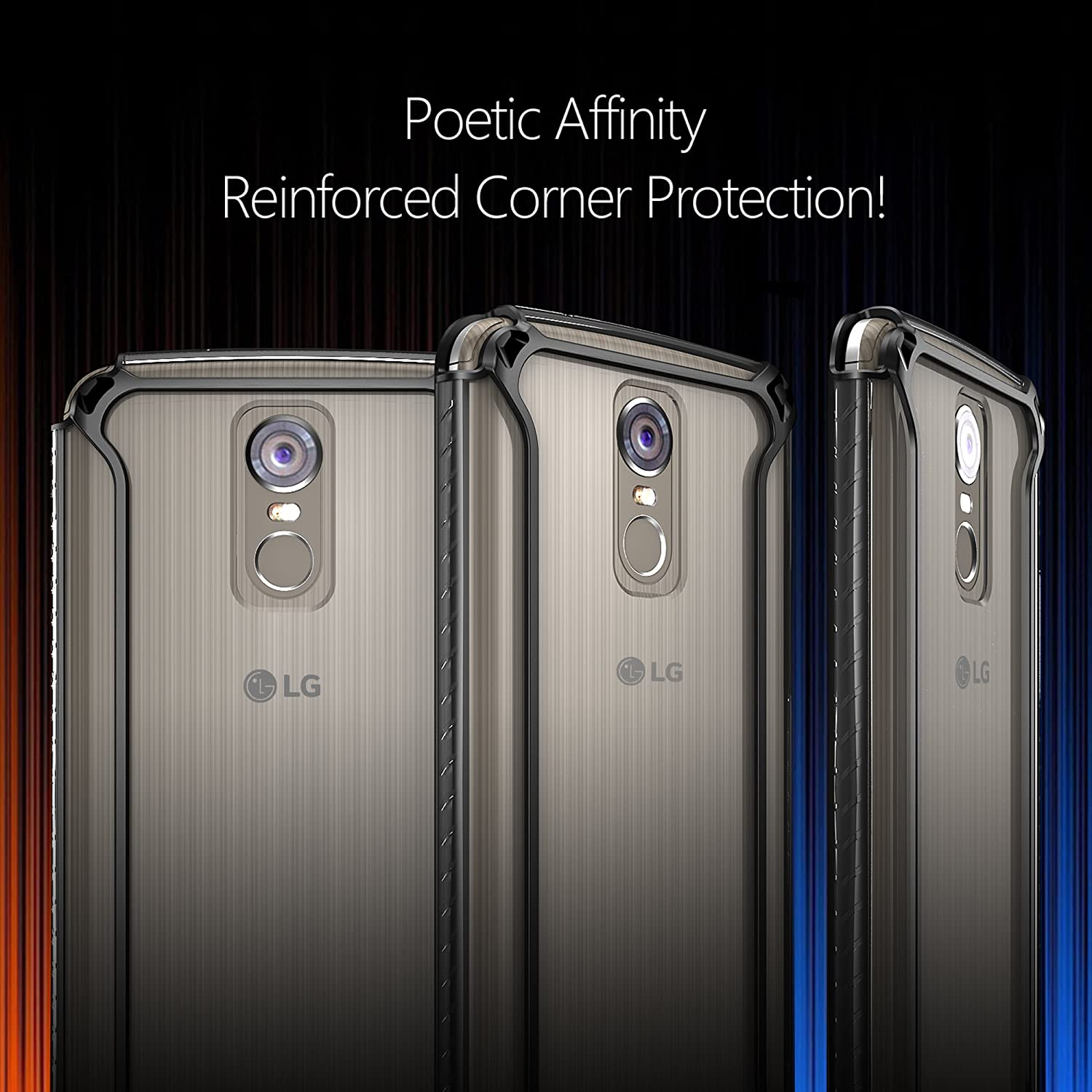 Amazon.com: Poetic Affinity Slim Fit LG Stylo 3 Plus/LG Stylo 3 Clear Case with Anti-Slip Side Grip and Reinforced Corner Protection Bumper for LG Stylo 3 ...