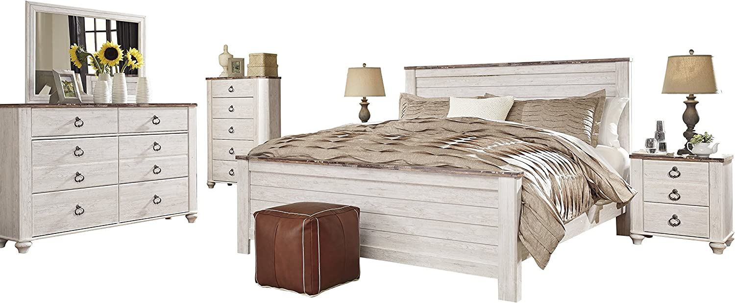 Amazon Com Willowton 6 Pc Cal King Panel Bedroom Set W 2