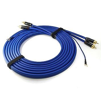 Cinch RCA Phono cable 6m incluyendo extra 6.1m de cable de tierra 1x 0.35mm² Sinus Control 2x 0.35mm² cable de audio blindado contactos chapados en ...