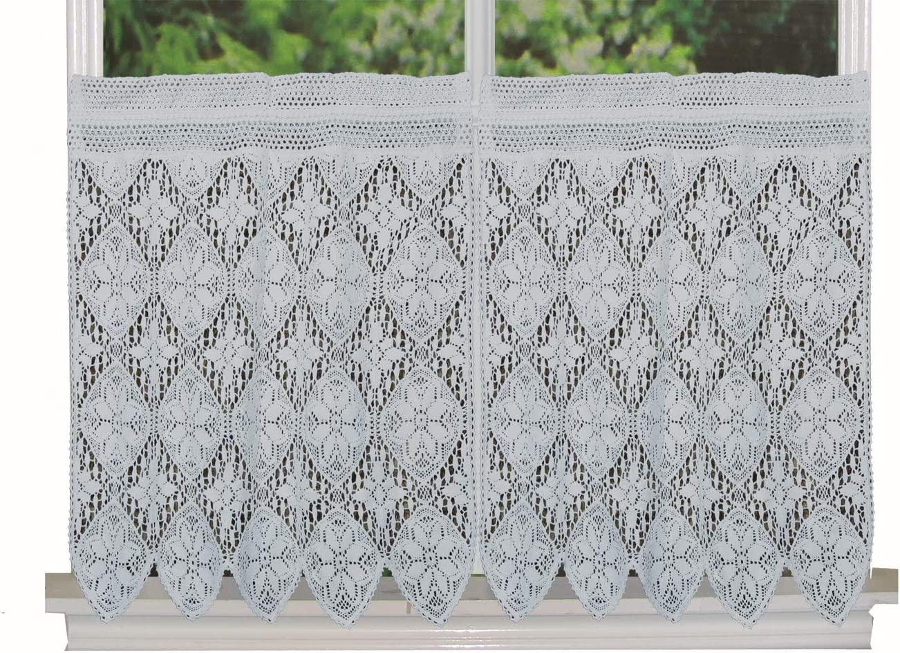 Creative Linens Knitted Crochet Lace Kitchen Curtain 30 L Tiers White, 100 Cotton