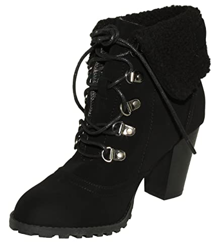 Women's Fong-6 Faux Fur Cuff Chunky Heel Lace-up Ankle Booties