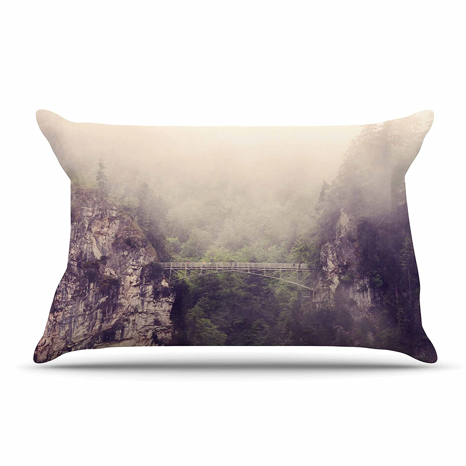 Kess InHouse Sylvia Coomes Foggy Mountain Landscape Brown Green Standard Pillow Case, 30 by 20-Inch, 30' X 20'