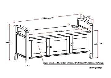 Simpli Home Warm Shaker Solid Wood Entryway Storage Bench