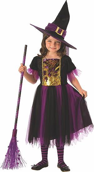 Halloween - Disfraz de Bruja para niña, dorado y morado - 8-10 ...